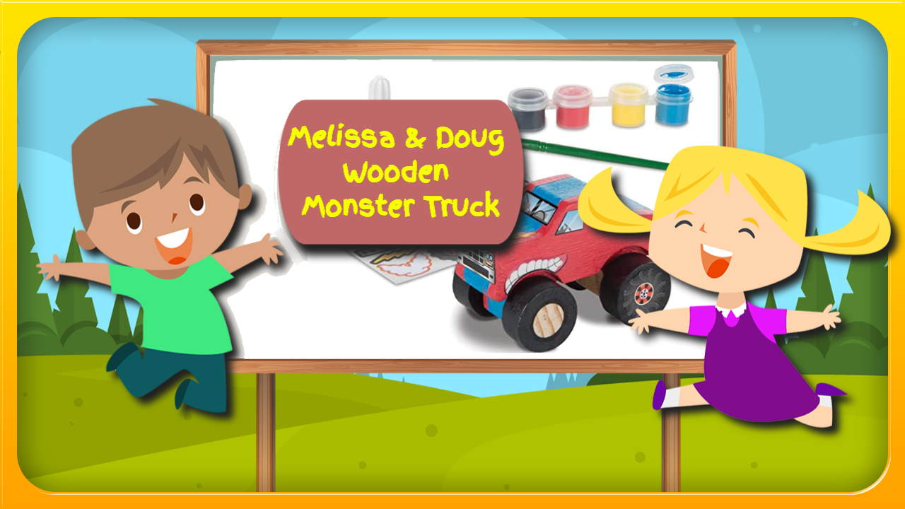 "Image bears the text: ""Melissa and Doug monster truck toy""."