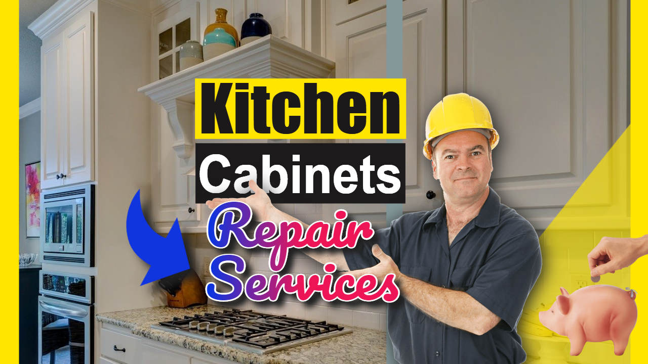 "Image text: ""Kitchen cabinet repair services""."